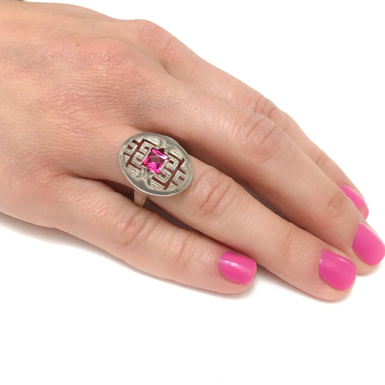 Art Deco style silver pink Tourmalin paste ring engagement size P or 7 12 Pierced ring