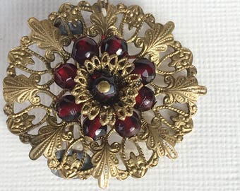 Vintage 1940s Costume Jewelry Gold tone Filigree Garnet beads  Brooch