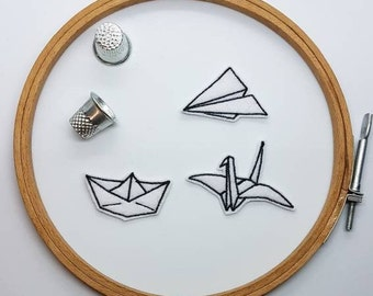 Origami Plane, Boat and Bird Kit. Iron-on Patch