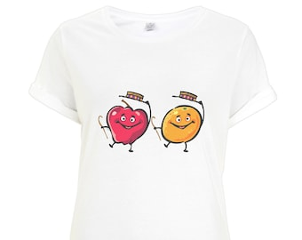 Dancing Fruit Rolled Sleeve T-Shirt