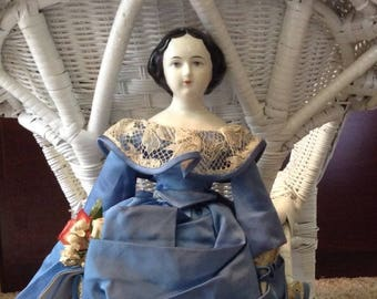 Antique China Doll in Beautiful Blue Dress  16 inches tall Rare Bun Hairstyle