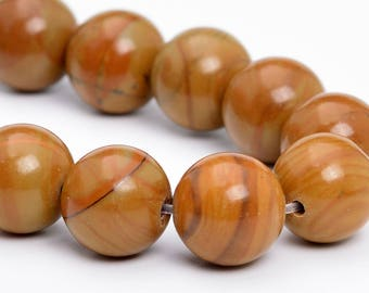 "10MM Brown Picture Jasper Natural Gemstone Half Strand Round Loose Beads 7.5"" (101155h-326)"