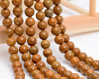 "6MM Brown Picture Jasper Natural Gemstone Full Strand Round Loose Beads 15"" (101153-326)"