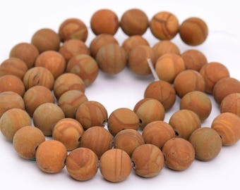 "10MM Matte Brown Picture Jasper Natural Gemstone Full Strand Round Loose Beads 15"" (101091-313)"
