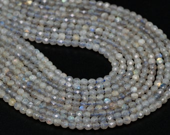 """4MM Labradorite Natural Gemstone Grade A Faceted Round Shape Full Strand Loose Beads 15"""" (100226-274)"""