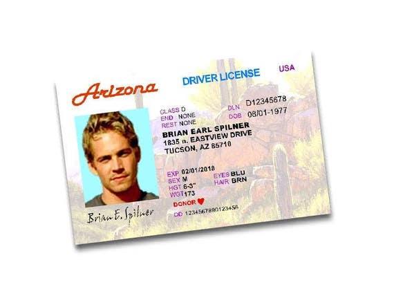 Prop Fast Drivers Arizona The Costume License Etsy Furious And