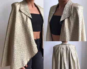 d0fc9fdf302 Parisian Tailor Made Art Deco 1920's-30's Woven Silk Gold Lamé Cape Eliane  Montigy Vintage Antique Costume Clothing