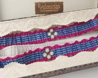 1930's Boxed Vintage Purple Blue Cerise Striped Diamante Garter Stockings Wedding Circus Prop Reenactment