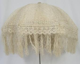 Original Folding Edwardian Promenade Parasol Carriage Cream Silk Needle Lace Tassel Prop Costume Display Reenactment Antique