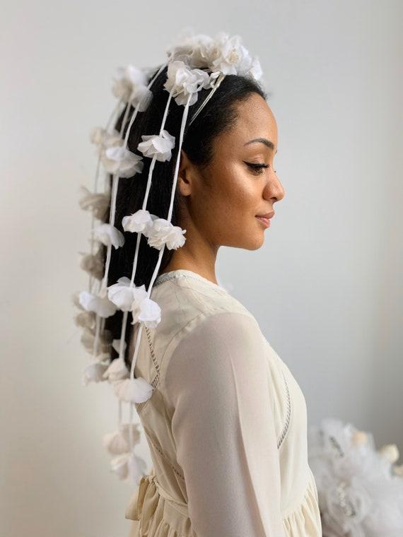 1950's-1960's Tiara Flower Veil Headdress Crown B… - image 1
