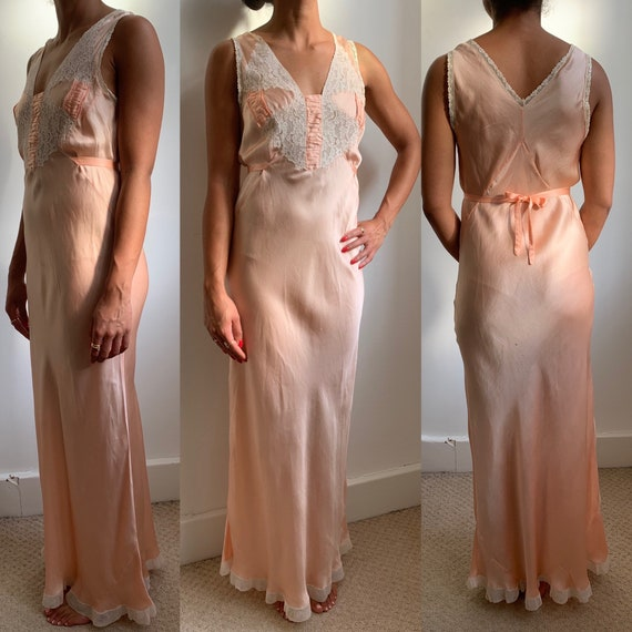 1920's- 1930's Silk Lace Night Gown Dress Antique… - image 2