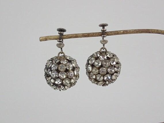 Fabulous 1920's- 1930's Paste Stone Ball Bead Earr