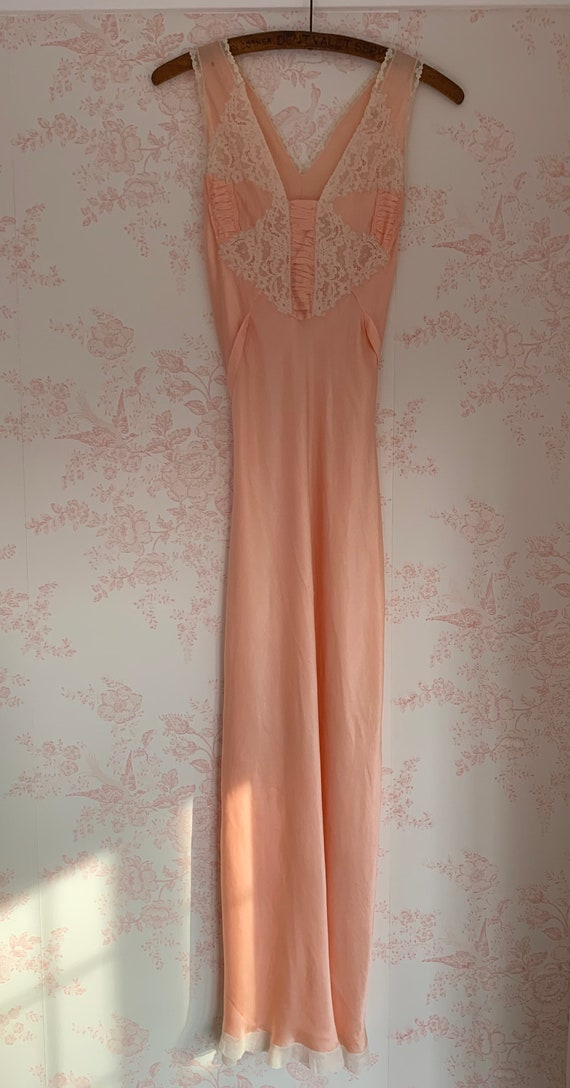 1920's- 1930's Silk Lace Night Gown Dress Antique… - image 3