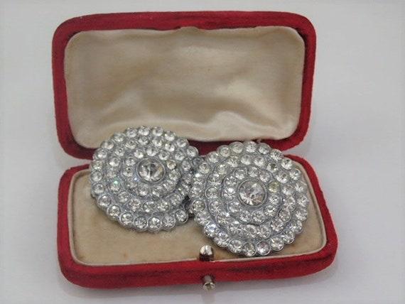 1930/'s Art Deco Early Plastic Jabot Hat Pin Brooch Flash Screw Closure Diamante Rhinestone Jewellery Jewelry