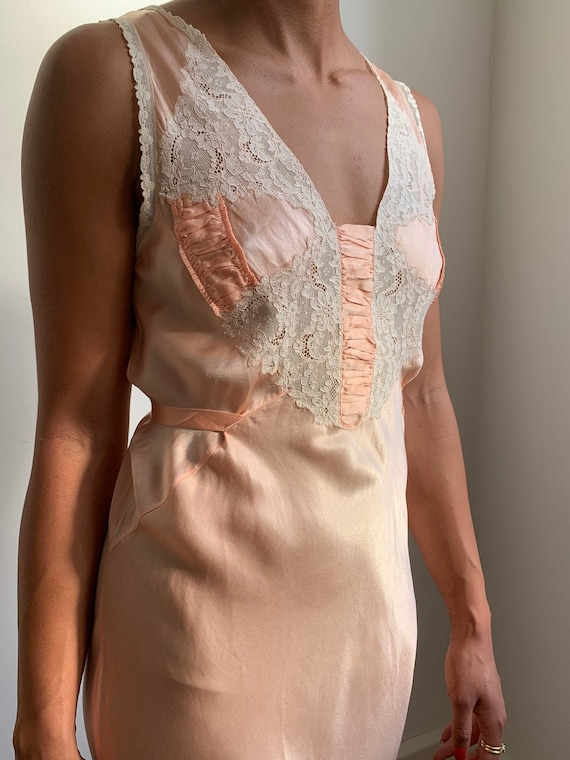 1920's- 1930's Silk Lace Night Gown Dress Antique… - image 1