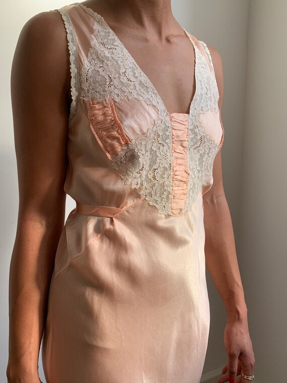 1920's- 1930's Silk Lace Night Gown Dress Antique