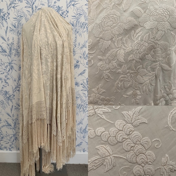 Early 20th Century Silk Piano Shawl Embroidered Fr