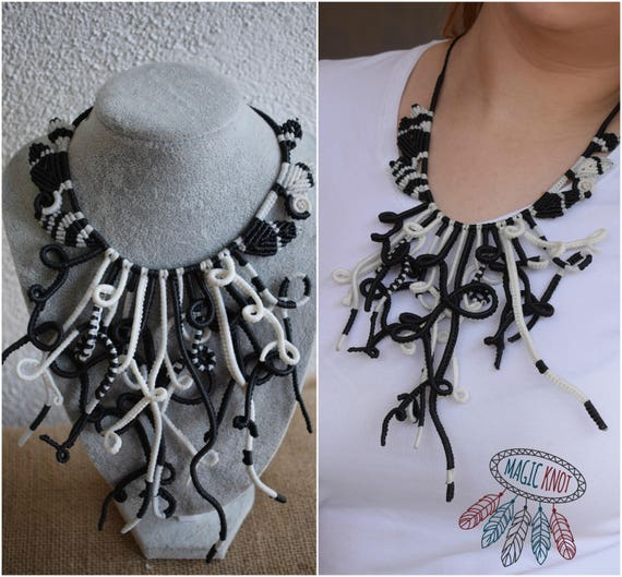 Unique Macrame Necklace Black And White Necklace Snake Etsy