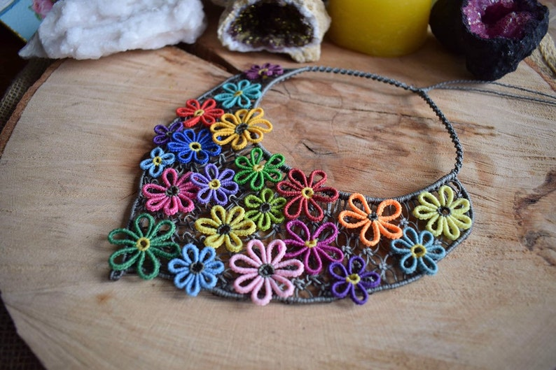 Flower Necklace Macrame jewelry Hippie necklace Colorful flowers Unique gift necklace Spring jewelry Valentine gift Bohemian necklace