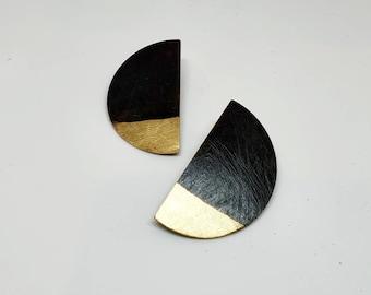 Brass earrings brass jewelry gift for her geometric earrings stud earrings black oxidation halfmoon earrings semicircle crescent earrings