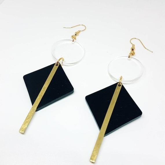 Brass earrings plexiglass earrings chandelier earrings acrylic earrings gift for her long earrings geometric earrings plexiglass jewerly