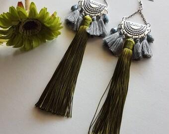 Boho long earings,tassels earrings,boho earrings,long earrings,bohochic