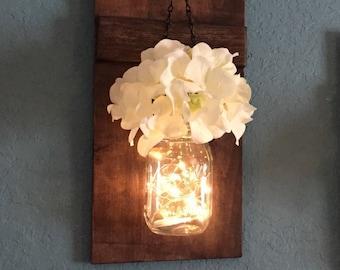 Rustic Wall Decor, Mason Jar Sconce, Lighted Mason Jars, Wall Sconce, Rustic Home Decor, Wall Hangings, Housewarming Gift, Home & Living