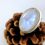 Moonstone Ring - Silver Moonstone Ring - Statement Ring - Chunky Ring - Big Ring - Blue Flash - Moonstone - Moonstone Jewelry - Ring