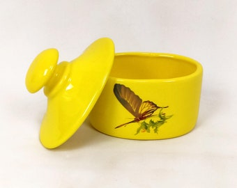 Vintage 70s 80s Yellow Ceramic Butterfly Trinket Box   butterflies stash small storage glass lidded oval flower weed gift swallowtail lid