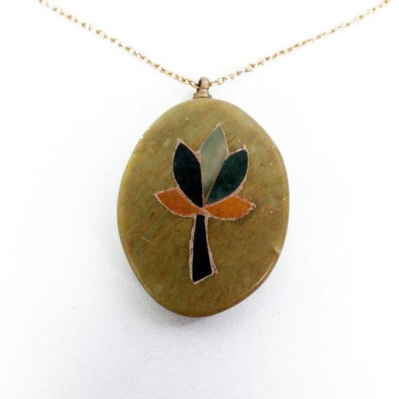 Vintage Boho Necklace Tree Ring Pendant Semi Precious Stone Beads