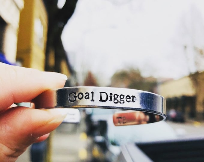 Goal Digger Bangle Adjustable Customizable Bracelet Slay All Day Achiever Go Getter Gifts For Her Under 25 Free Shipping Valentines Holiday