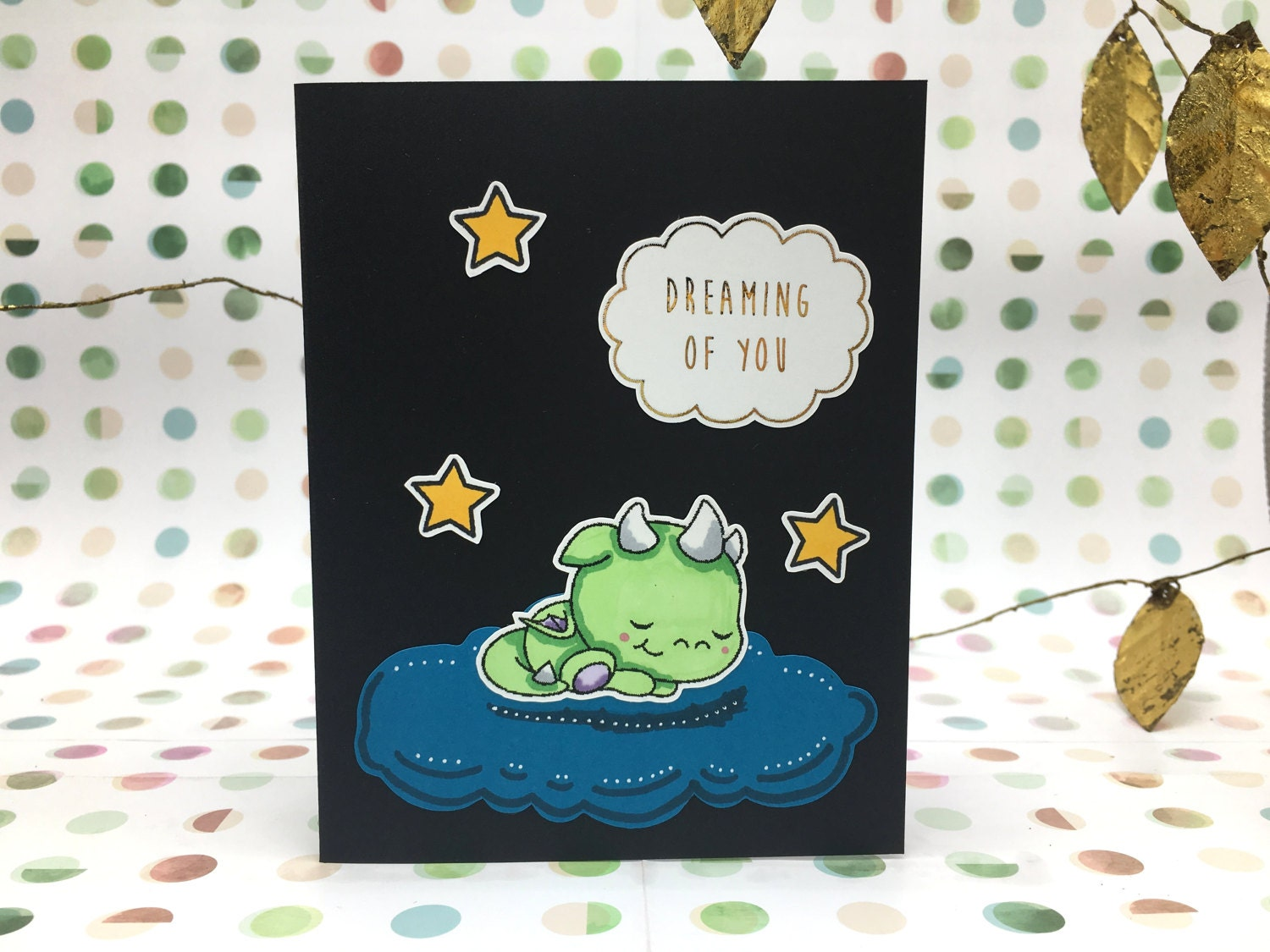 Dreaming Of You Green Baby Dragon Sleeping On A Cloud Blank Etsy