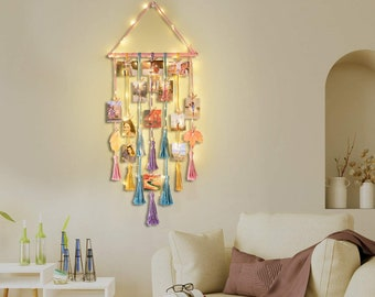 Hanging Photo Display Wall Decor | Macrame Wall Decor Hanging with Remote String Light | Valentines Day Gift For Her | Wedding Gift for Him