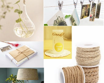 Super High Quality 5M Natural Hessian Rope Burlap Ribbon DIY Craft Vintage Wedding Party Home Deco