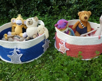Baby Supply Baby Boy Storage Basket Hippo Crochet Basket Bucket Baby Shower Gift Handmade