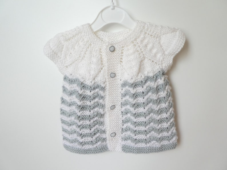 3f955e36382d Knitted Baby Vest dress in white gray stripes Hand Knit
