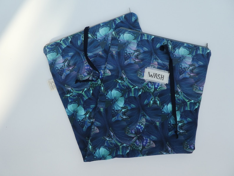 Gift idea for her Bridesmaid gifts Wash and wear laundry bag for woman Travel lingerie bag in blue butterfly print Underwear travel bag