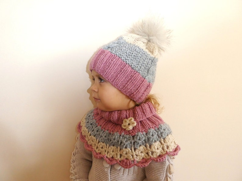 011232a0c Knit Pom Pom Hat and snood scarf / Knit Kid's winter set beanie and scarf,  Toddler Hat - Woolly Snood, Hand Knit Cowl, Wool Neck Warmer