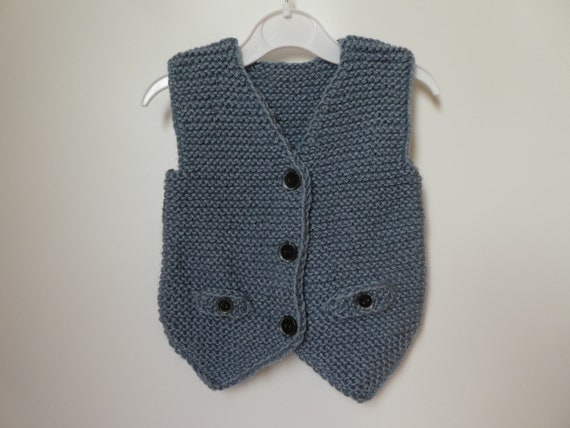 d0d883d4a Knitted baby boy   toddler vest in gray Baby formal wear