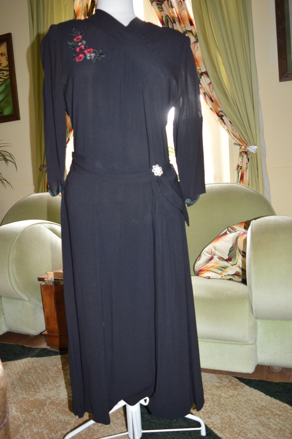 1940s American original black rayon dress