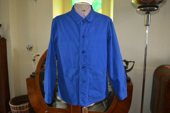 vintage French work wear chore jacket