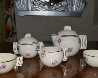 French Art deco Design ceramic tea service
