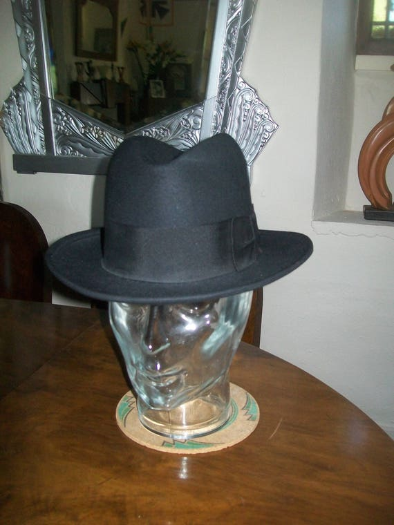 French black 1930s/40s Homburg hat-Mint condition!