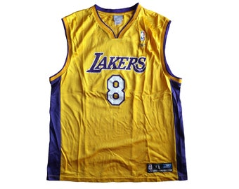 da214163e53 Reebok Los Angeles Lakers #8 Kobe Bryant Jersey / NBA Basketball Jersey  Streetwear Hip Hop Rap Size XL