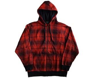 94b9c7441a8e SOUTH POLE Shadow Plaid Zip Up Hoodie   Spell Out Streetwear Hip Hop Rap  Size L Unisex
