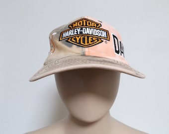 a4bc2ac297b 90s HARLEY DAVIDSON Official Licensed Tie Dye Snapback Hat   Promo Biker  Streetwear One Size Fits All Unisex