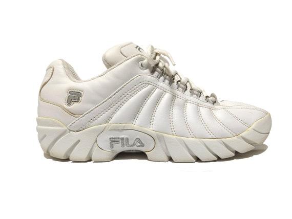 90s FILA White Sneakers Streetwear Hip Hop Rap Size US 10 For Women