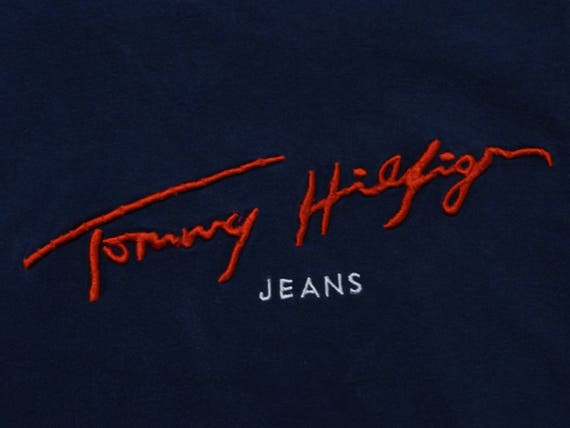 90 s Tommy Tommy Tommy Jeans T-shirt /Tommy Hilfiger sort broderie Hip Hop Rap unisexe taille M fe532a