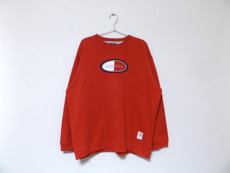 ec4d2fde 90s Tommy Hilfiger Red Spell Out Sweatshirt / Streetwear Hip   Etsy