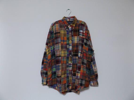 45ce72da 90s Ralph Lauren Patchwork Long Sleeve Shirt / Button Up   Etsy